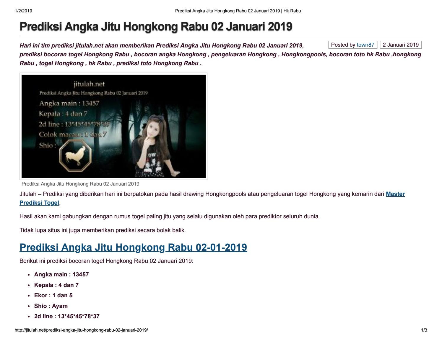 Prediksi Angka Jitu Hongkong Rabu 02 Januari 2019