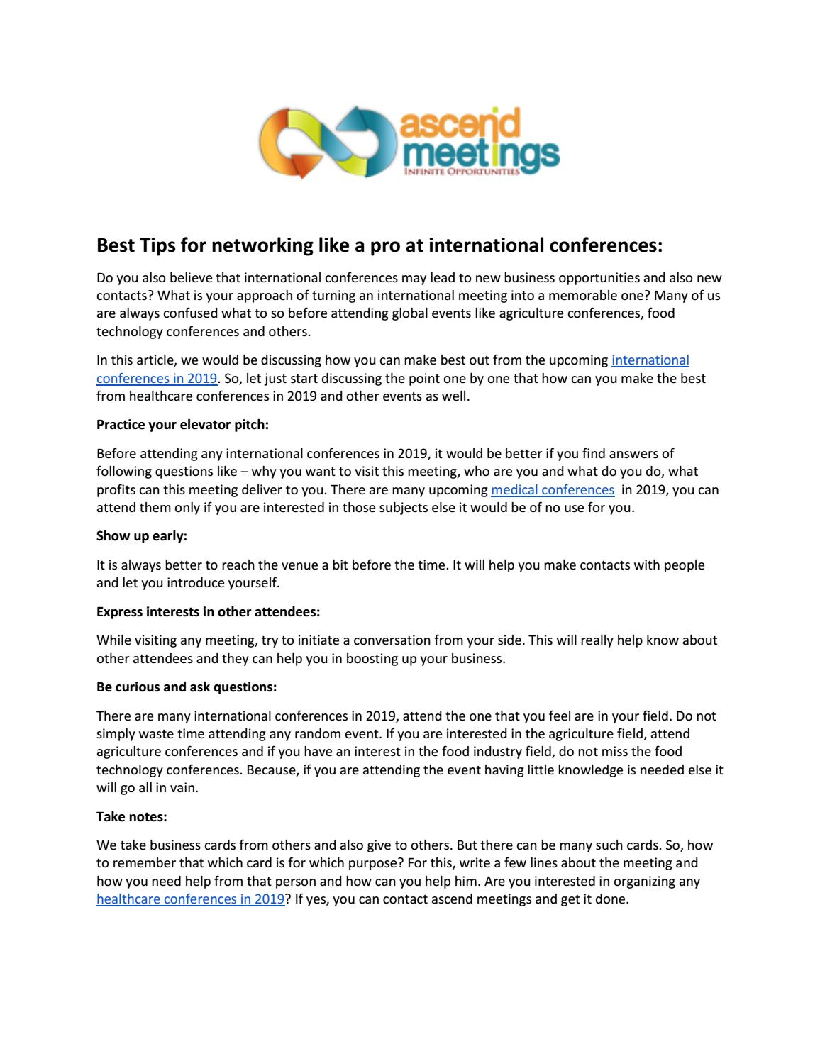 Best Tips for networking like a pro at international
