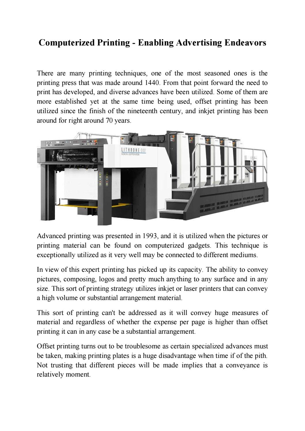 Computerized Printing - Enabling Advertising Endeavors by