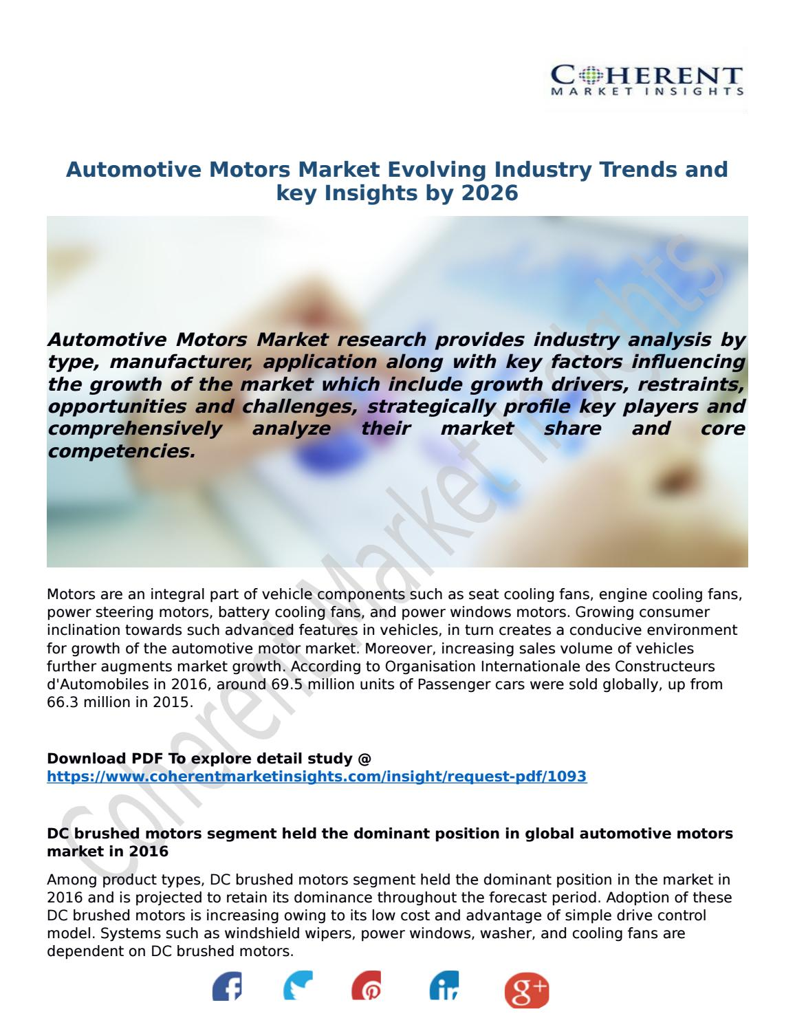 Automotive Motors Market Evolving Industry Trends and key Insights