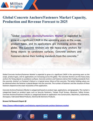 Global Concrete Anchors/Fasteners Market Capacity