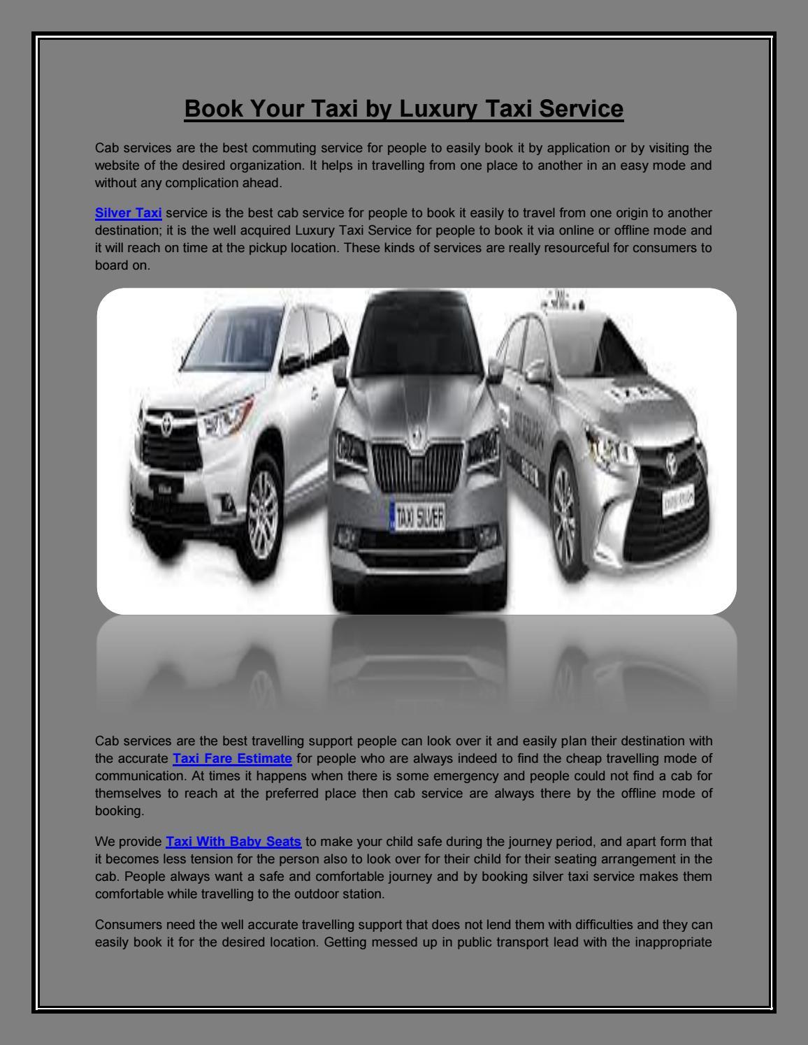 Silver Taxi | Taxi Fare Estimate | Luxury Taxi Service | Taxi With