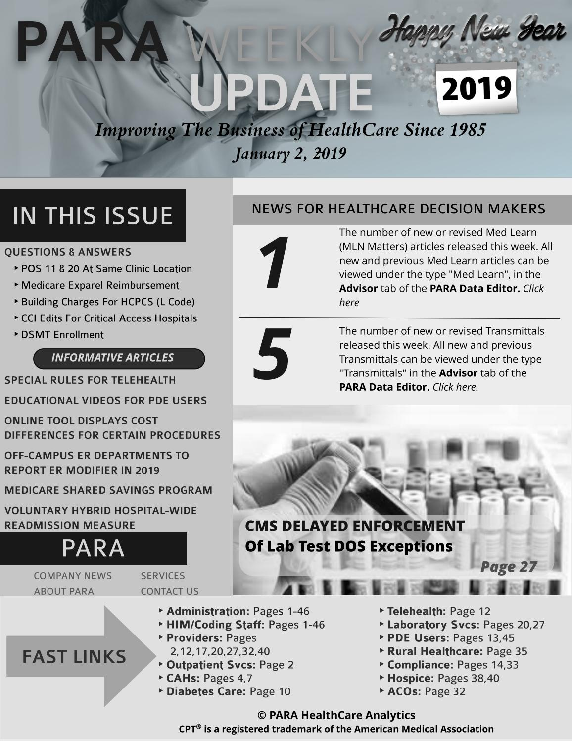 PARA Weekly Update For Users Grayscale Version 1/2/2019 by