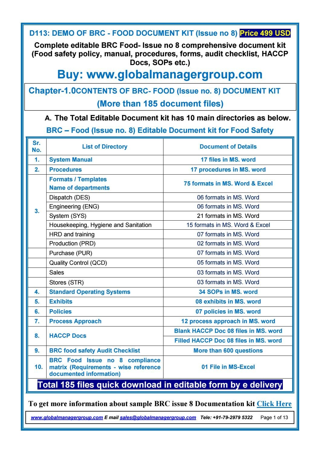 Required BRC Food Issue 8 Documents by Global Manager Group