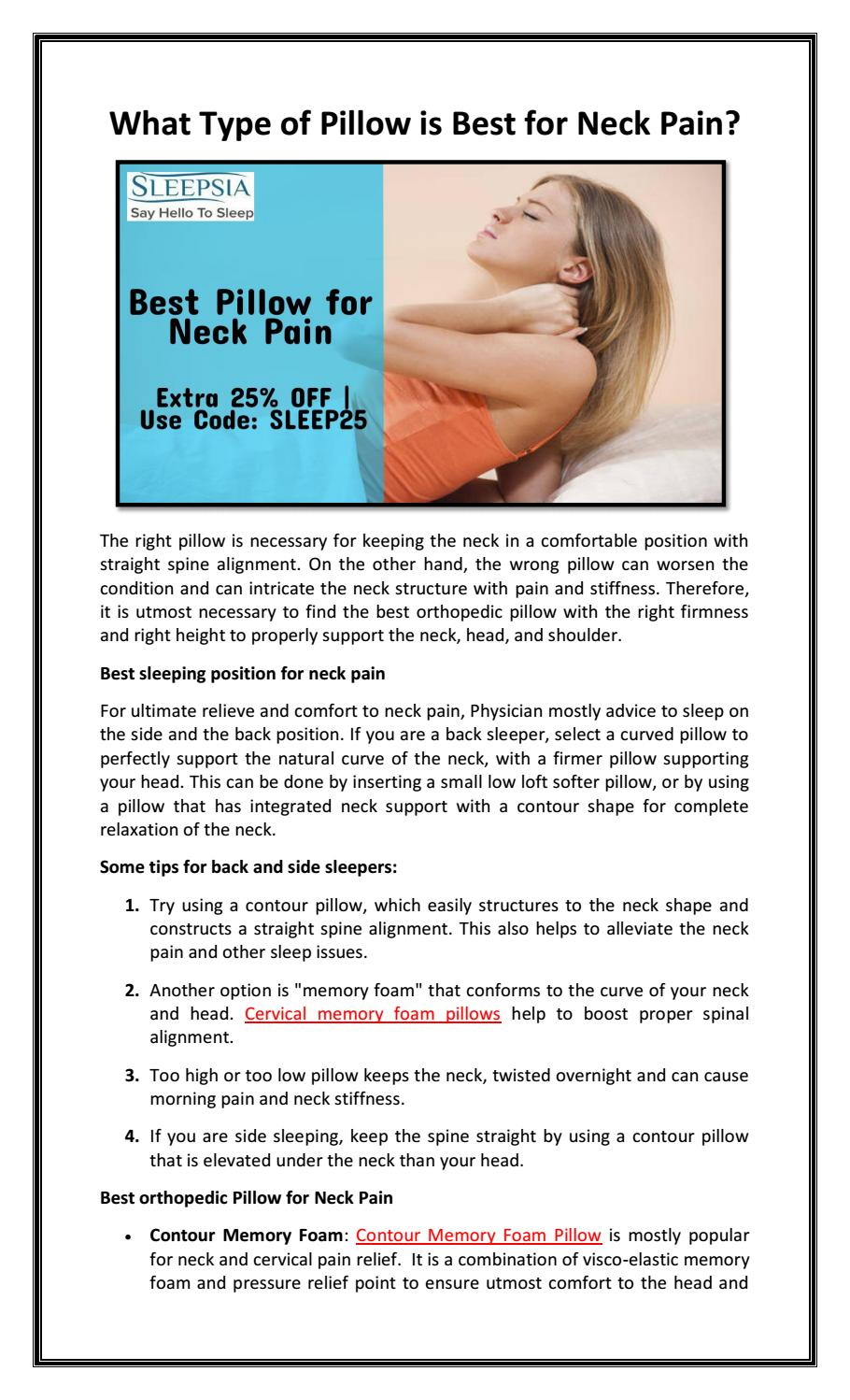 What Type of Pillow is Best for Neck Pain? by Sleepsia India