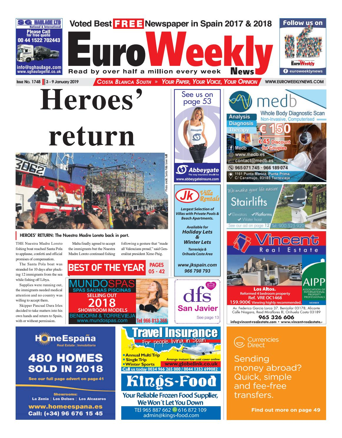 a1b131e293e Euro Weekly News - Costa Blanca South 3 - 9 January 2019 Issue 1748 ...