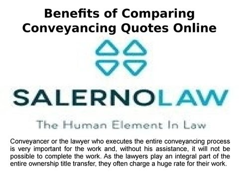 Benefits of Comparing Conveyancing Quotes Online by Salerno