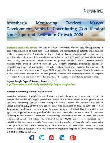 Anesthesia Monitoring Devices Market Development Analysis Contributing Top  Vendor Landscape and Econ