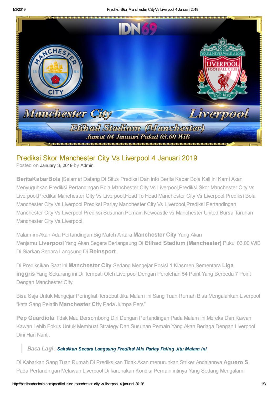Prediksi Skor Manchester City Vs Liverpool 4 Januari 2019 By