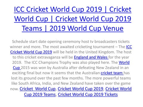 Icc Cricket World Cup 2019 Cricket World Cup Cricket