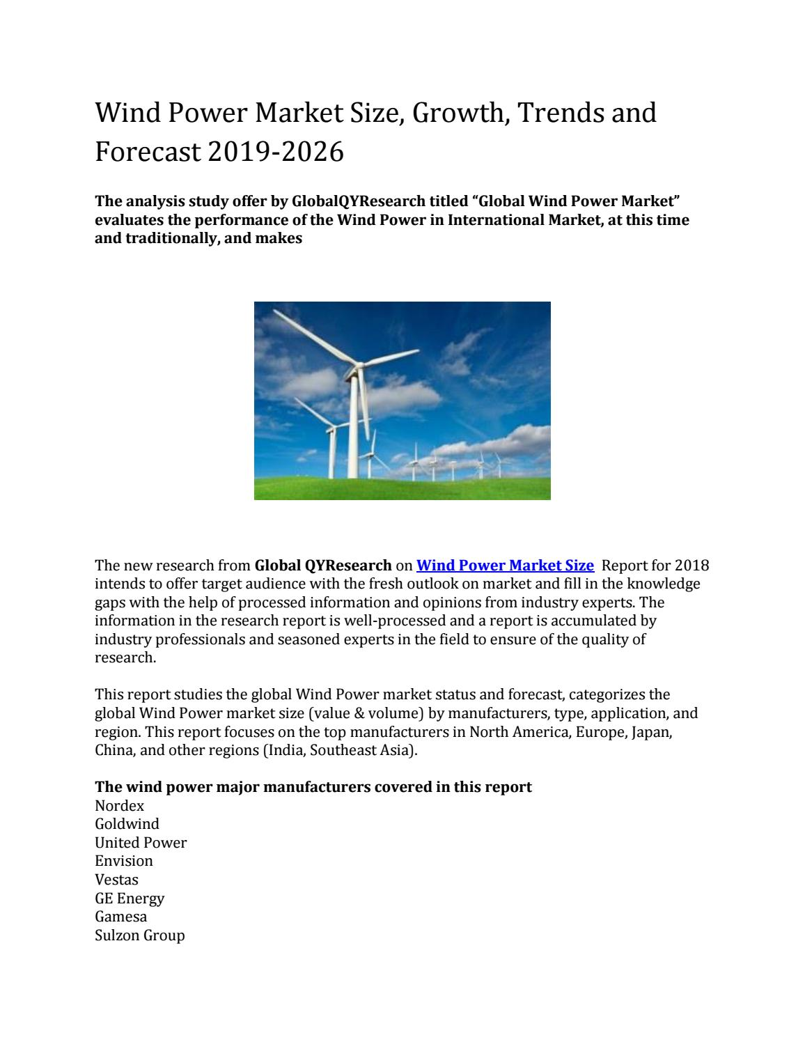 Wind Power in Global Market Size, Share, Trends, Growth