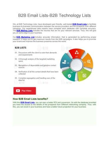 B2B Email Lists   B2B Marketing List   B2B Mailing Lists by