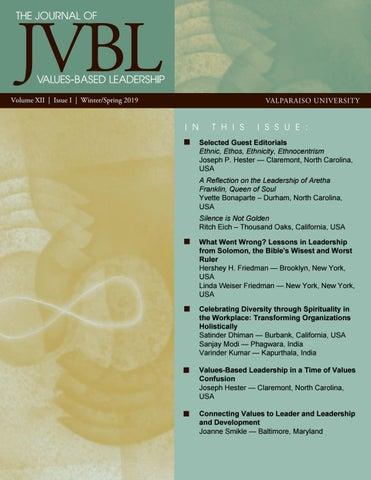 Journal Of Values Based Leadership Winterspring 2019 By