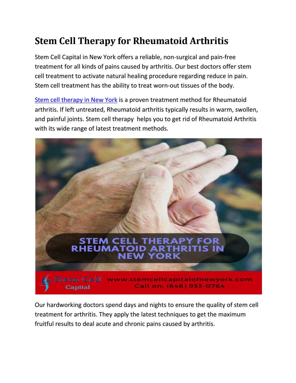 Stem Cell Therapy For Rheumatoid Arthritis By Georginaewagne720 Issuu