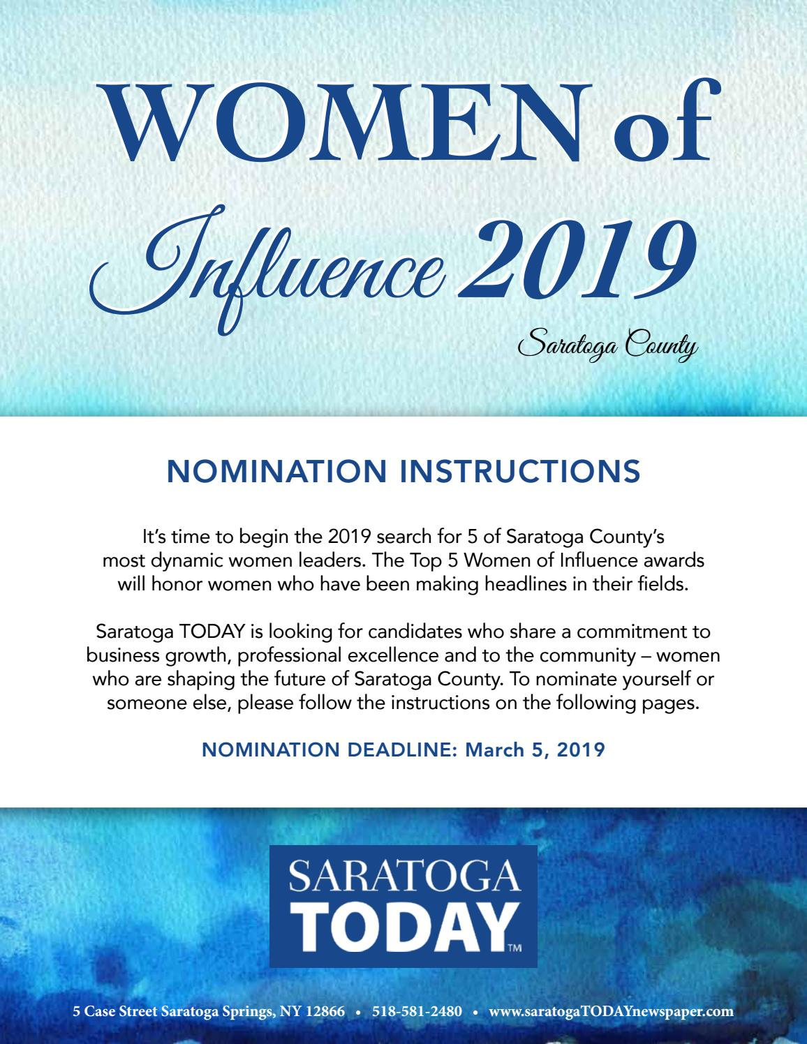 Women of Influence 2019 Nomination by Saratoga TODAY - issuu