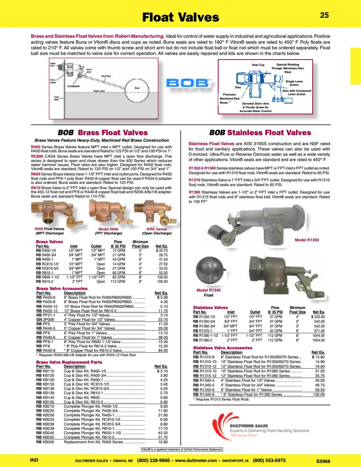 Robert Manufacturing KB136 Bob 2 Piece Standard Disc and Cup Kit for CASA Series RC810 3//4 Brass Float Valves