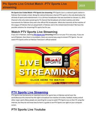 Ptv Sports Live Cricket Match -PTV Sports Live streaming 2019 by