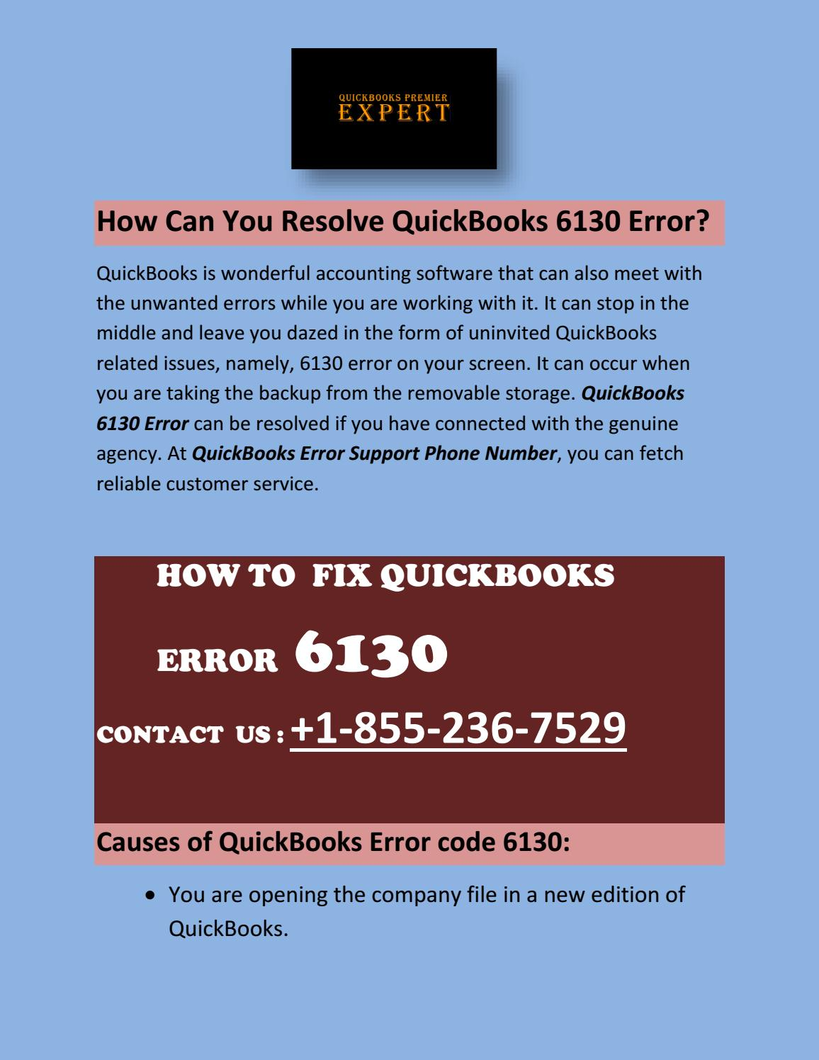 How Can You Resolve QuickBooks 6130 Error? by Susan Sandoval - Issuu