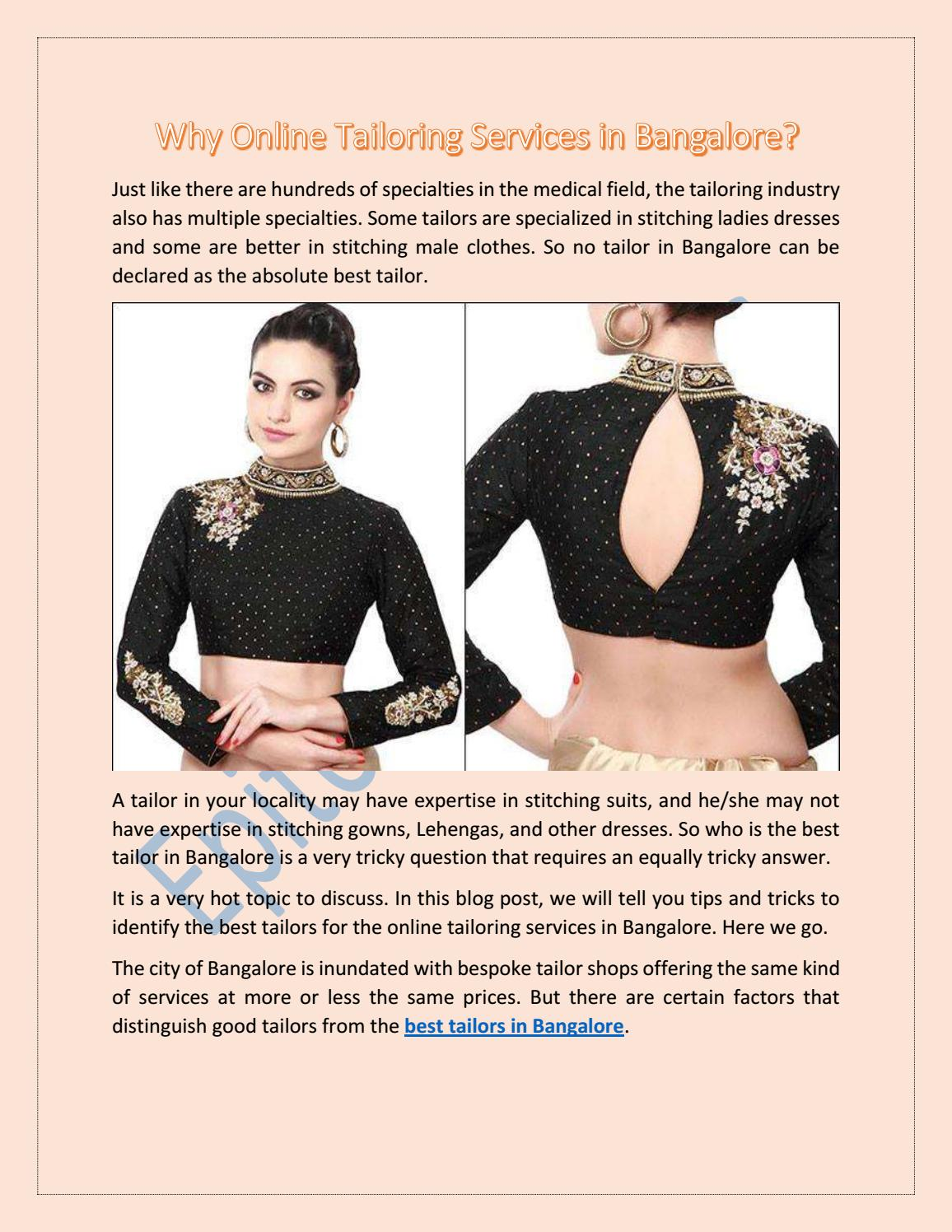 Why Online Tailoring Services In Bangalore By Epitome Stitches Issuu
