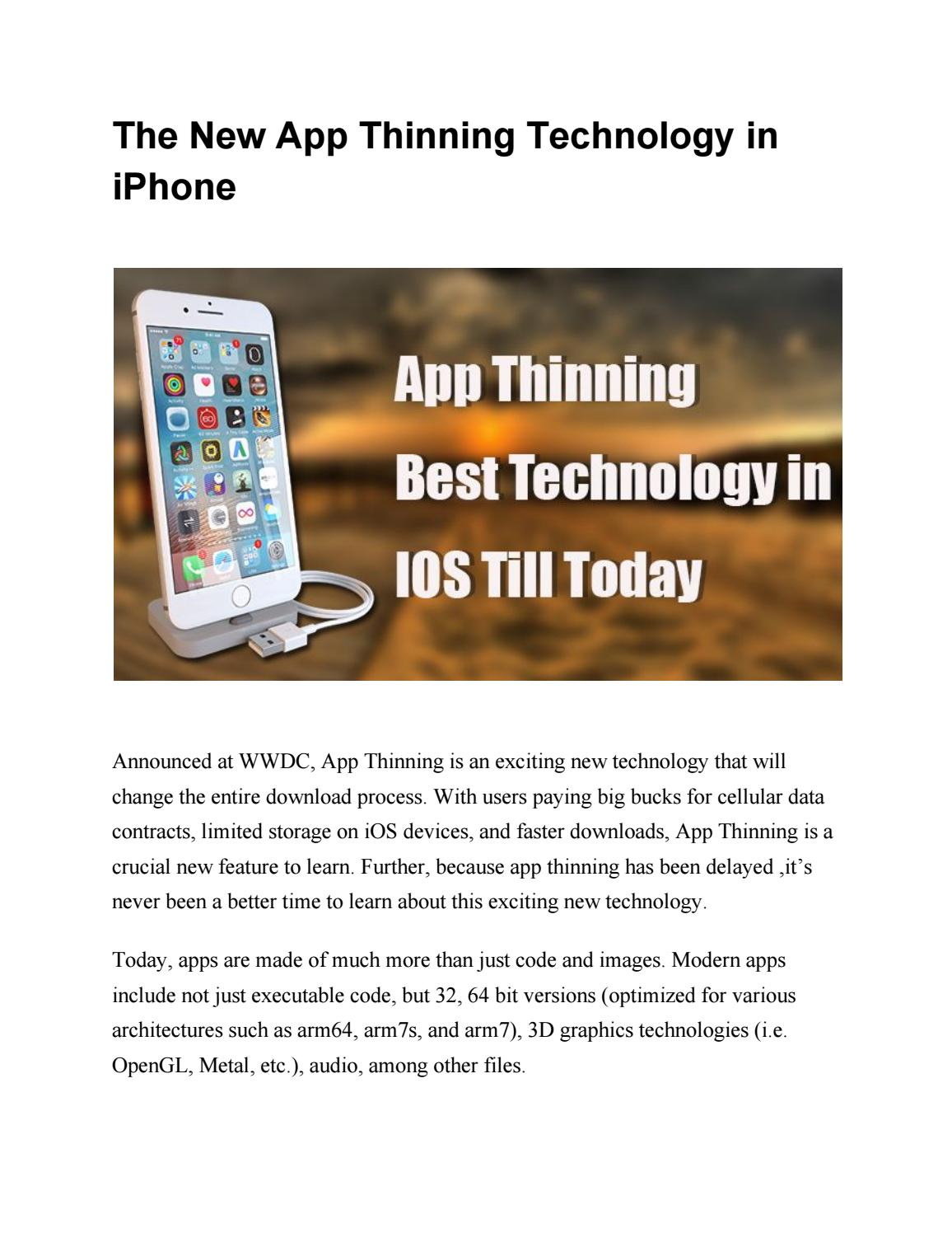 The New App Thinning Technology in iPhone by Harshal Shah