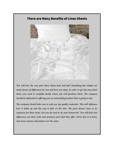 Page 1 There Are Many Benefits Of Linen Sheets