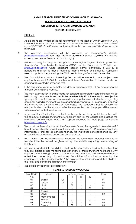 APPSC Biosciences Junior Lecturer Recruitment 2019 by
