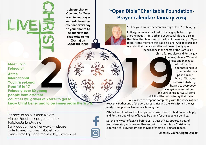 Prayer Calendar: January 2019 by Open Bible - issuu