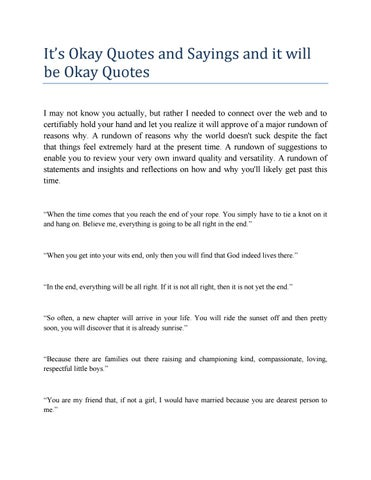 Its Okay Quotes And Sayings And It Will Be Okay Quotes By
