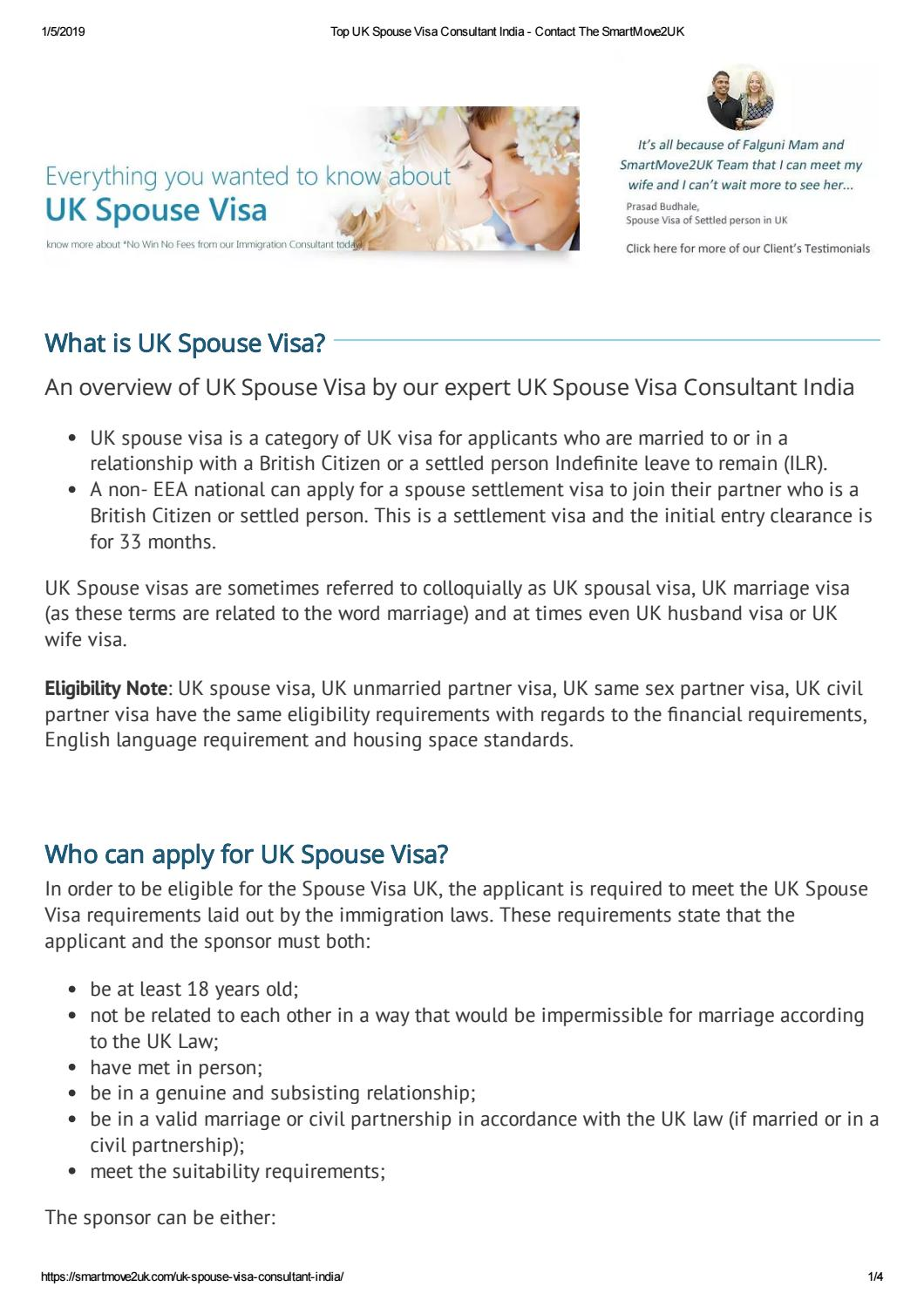 Top UK Spouse Visa Consultant India by TheSmartMove2UK - issuu
