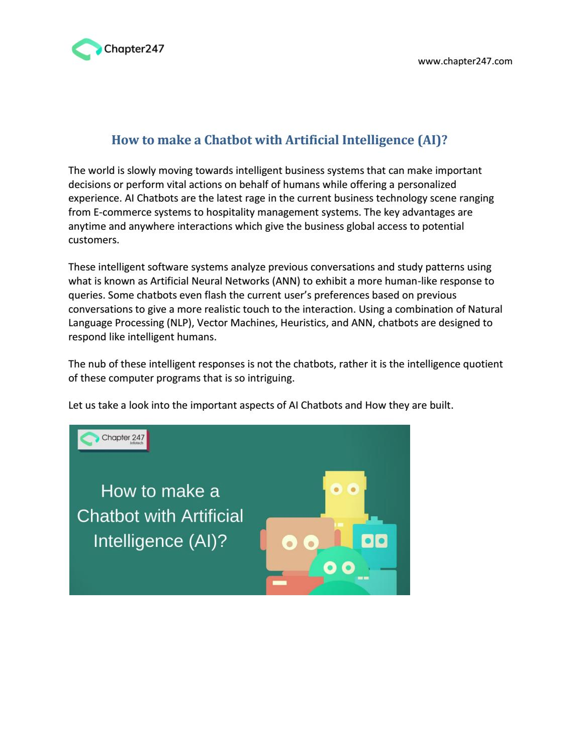 How to make a Chatbot with Artificial Intelligence (AI)?