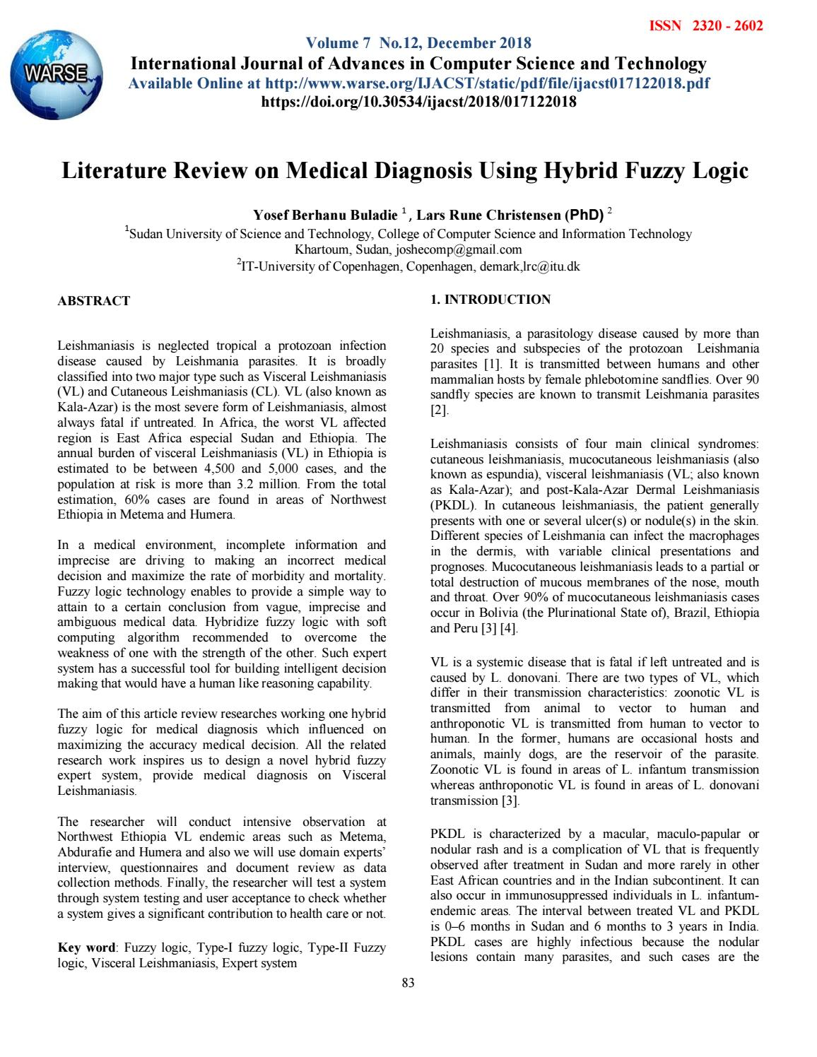 Literature Review on Medical Diagnosis Using Hybrid Fuzzy