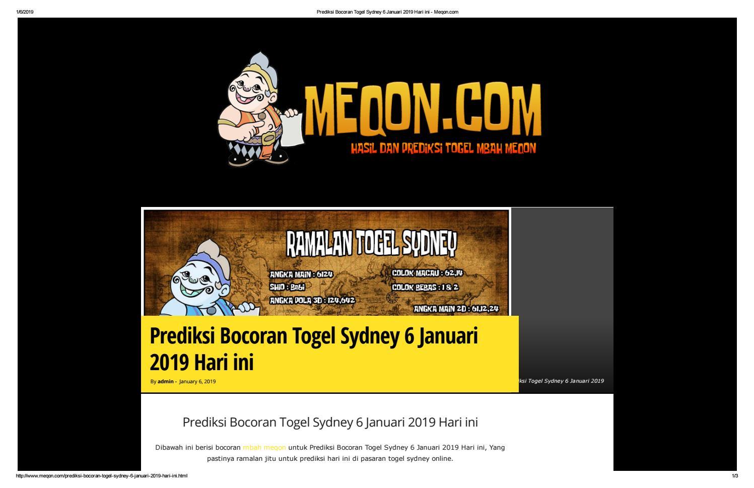 Prediksi Bocoran Togel Sydney 6 Januari 2019 Hari ini - Meqon by