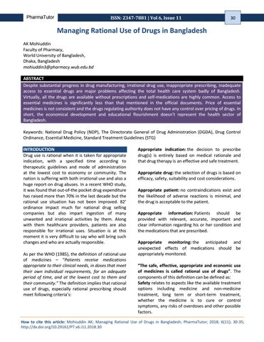 Managing Rational Use of Drugs in Bangladesh by trymohi - issuu