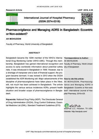 Pharmacovigilance and Managing ADRS in Bangladesh: Eccentric