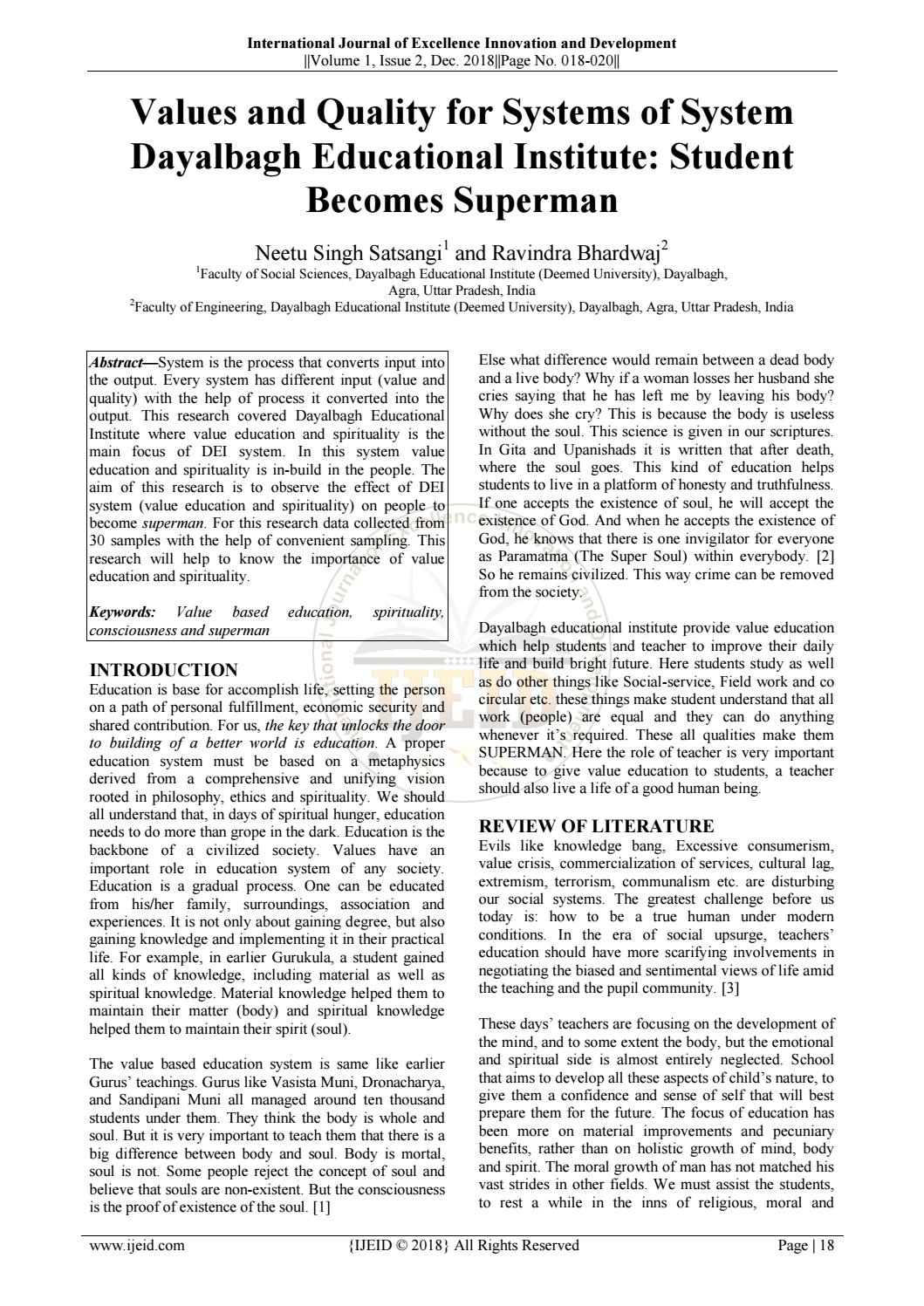 Values And Quality For Systems Of System Dayalbagh Educational Institute Student Becomes Superman By Ijeid Issuu