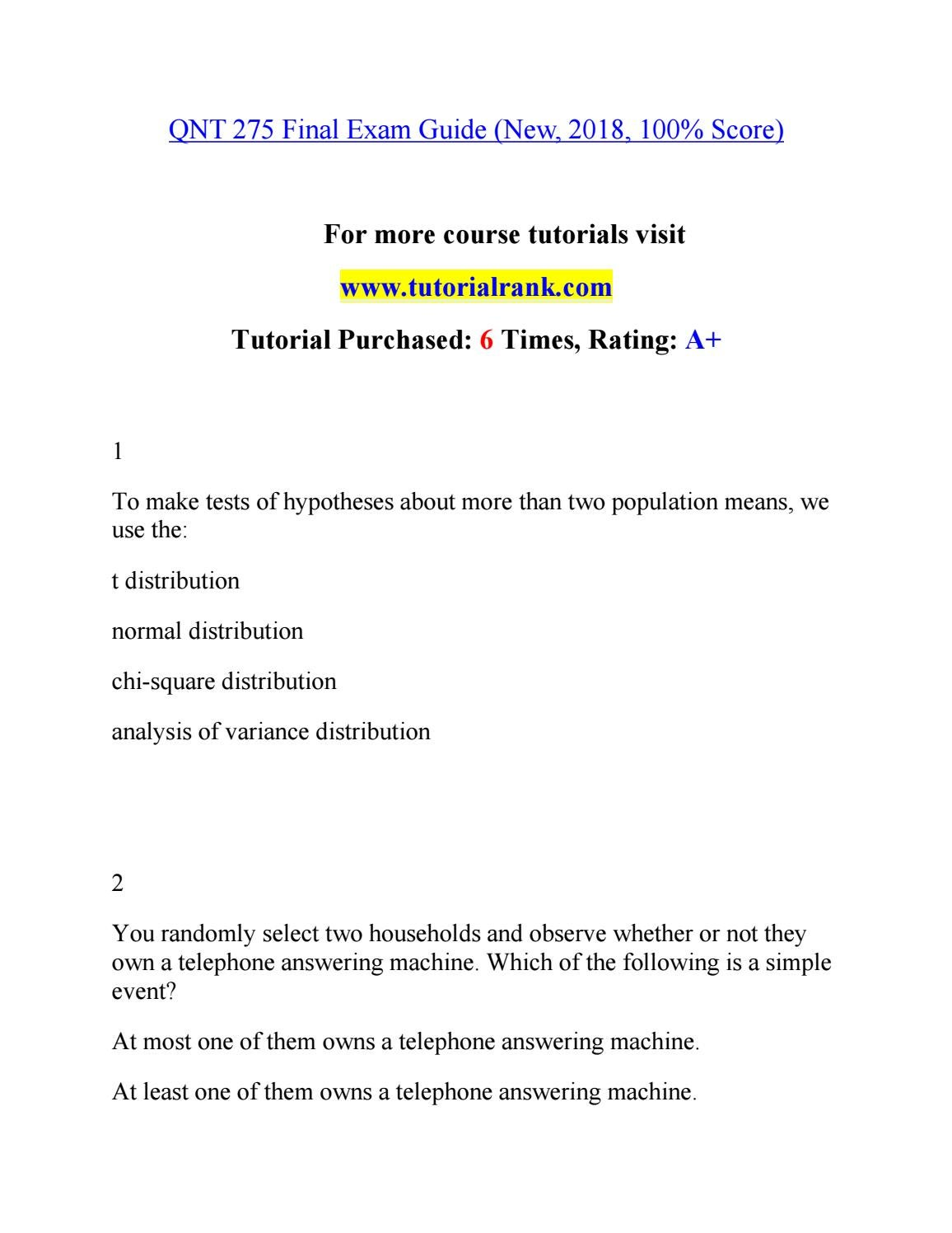 QNT 275 Teaching Effectively--tutorialrank com by