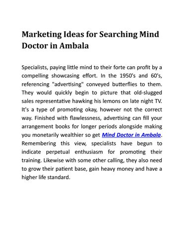 Marketing Ideas for Searching Mind Doctor in Ambala by