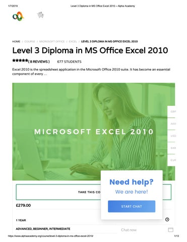 Level 3 Diploma in MS Office Excel 2010 – Alpha Academy by