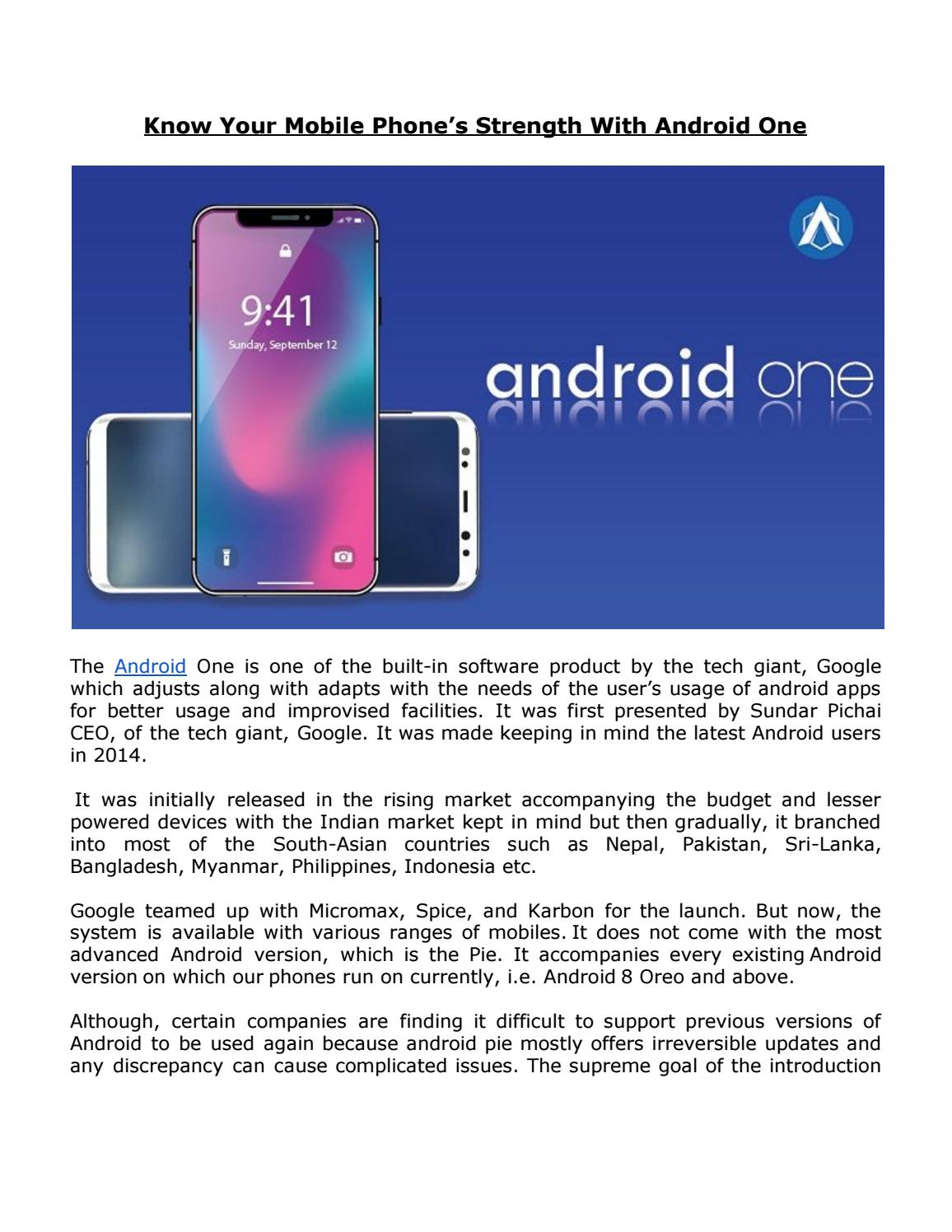 Know Your Mobile Phone's Strength With Android One by