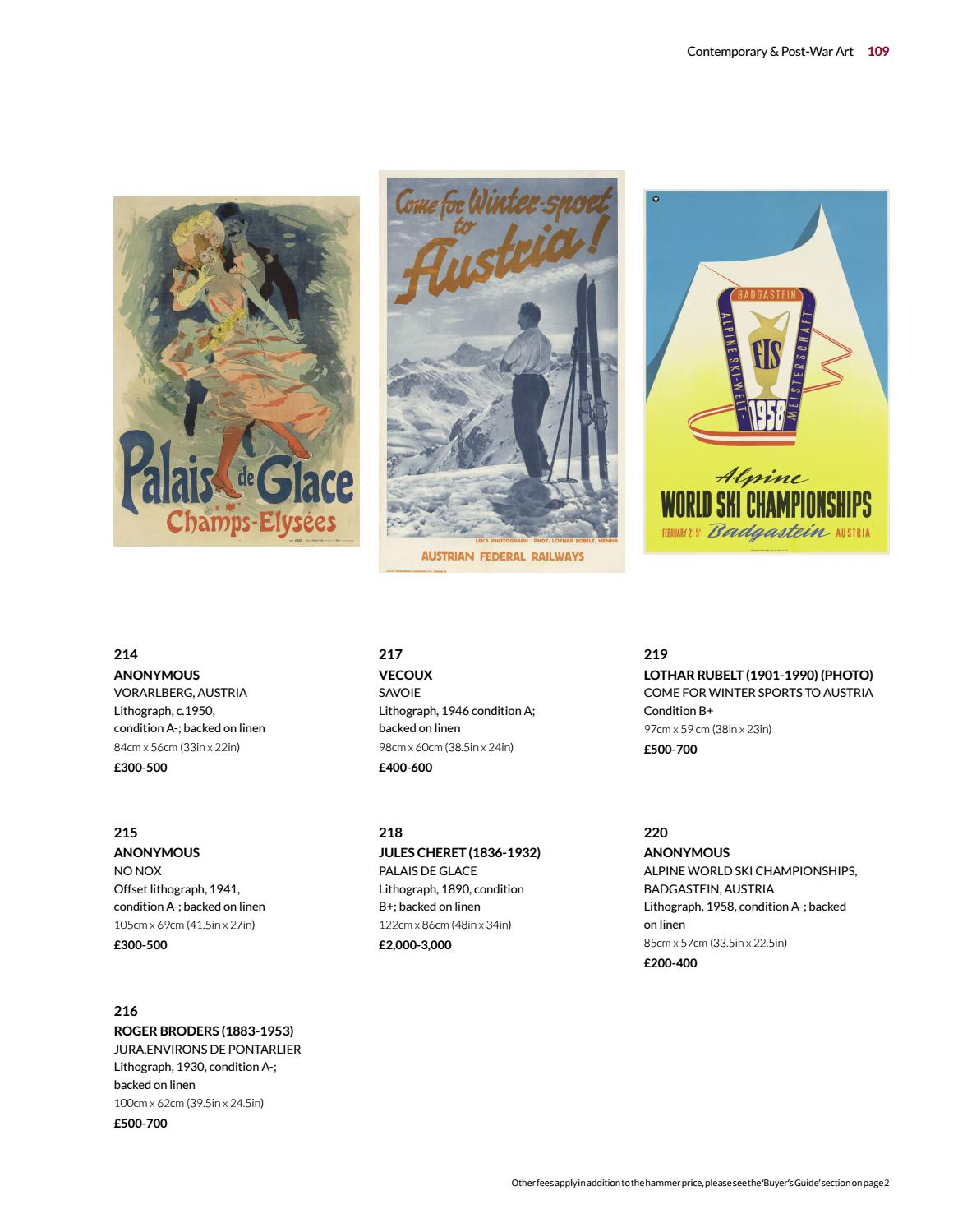 Contemporary & Post-War Art inc Vintage Ski Posters
