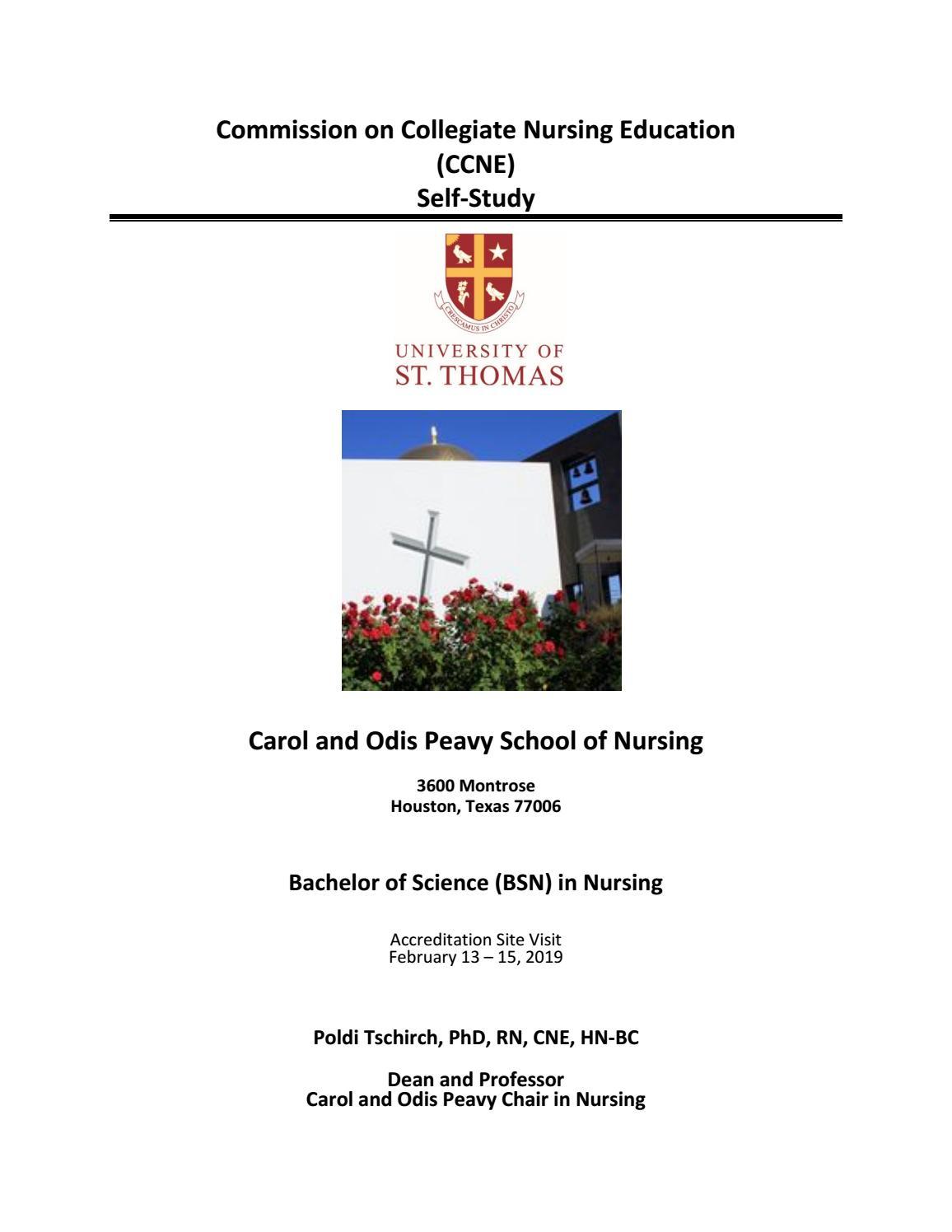 UST Carol and Odis Peavy School of Nursing CCNE Self-Study by