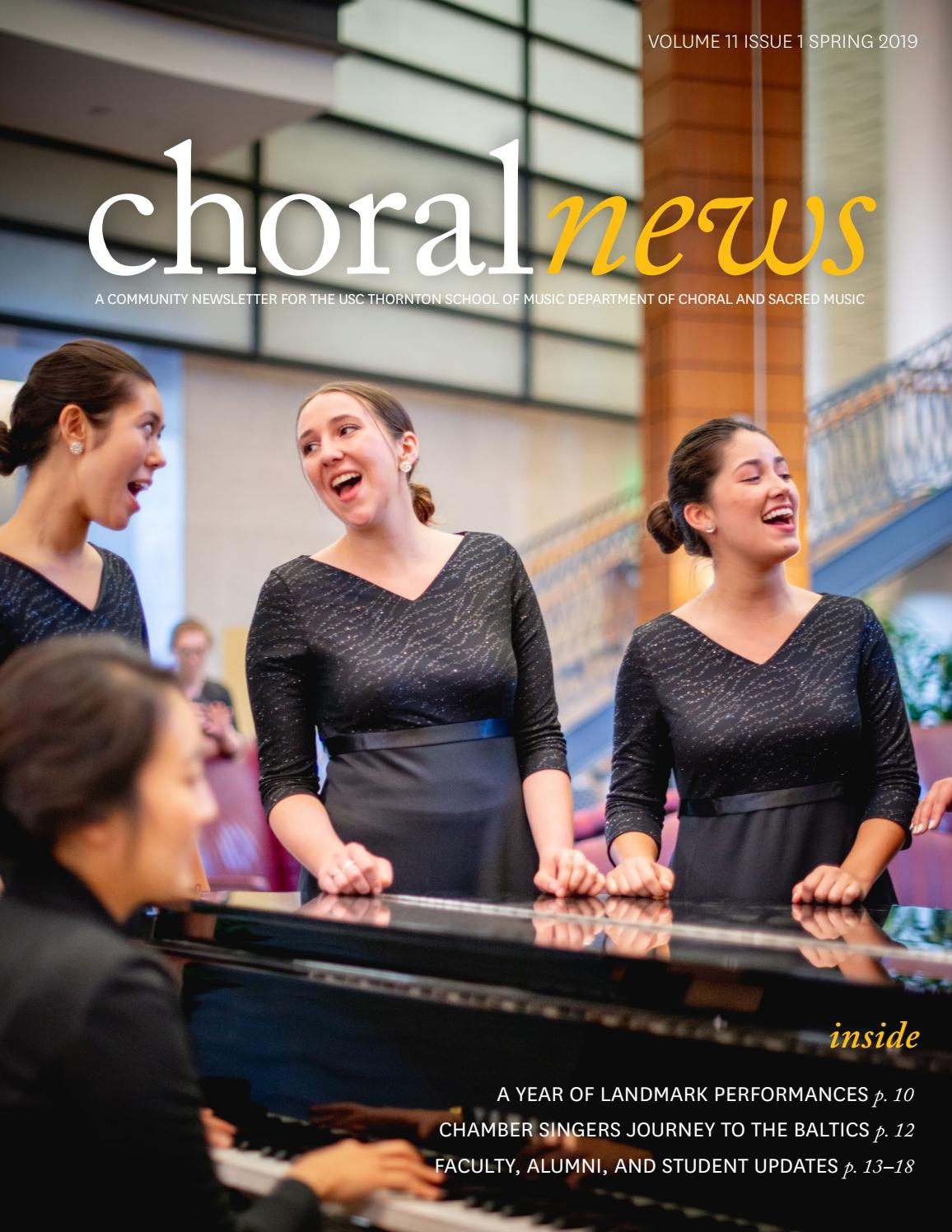 2019 Usc Thornton Dept Of Choral Sacred Music Newsletter By Usc Thornton School Of Music Issuu
