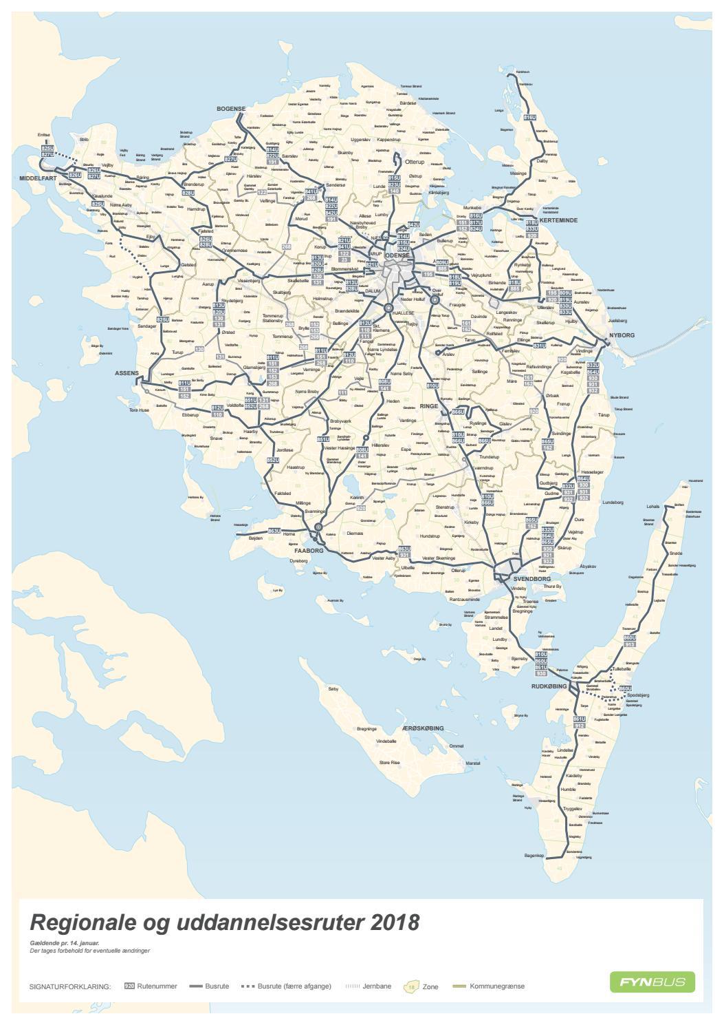 Kort Over Regionale Og Uddannelsesruter Fyn Odense Gyldig 14