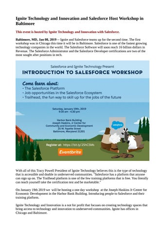 Ignite Technology and Innovation and Salesforce Host Workshop in
