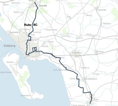 Kort Over Bus Rute 8c Ribe Esbjerg Varde Gyldig 1 Juli