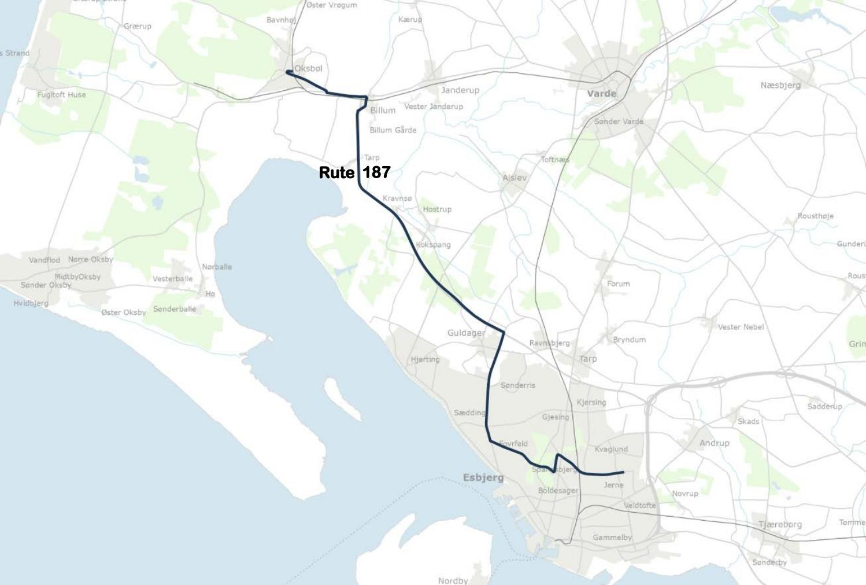 Kort Over Bus Rute 187 Esbjerg Oksbol Gyldig 1 Juli 2018