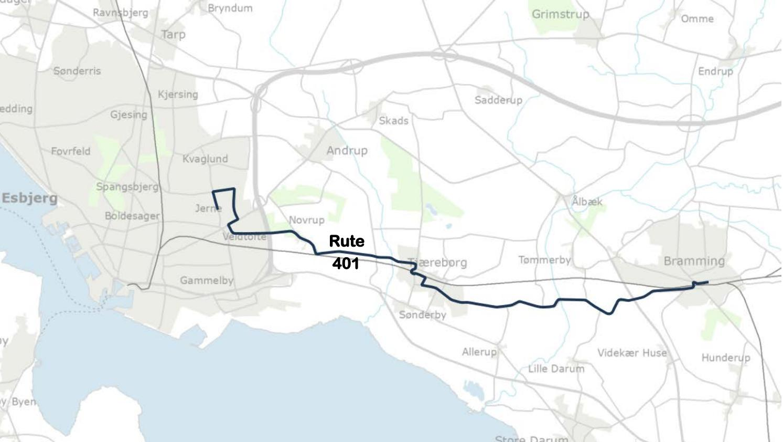 Kort Over Bus Rute 401 Esbjerg Bramming Gyldig 1 Juli 2018