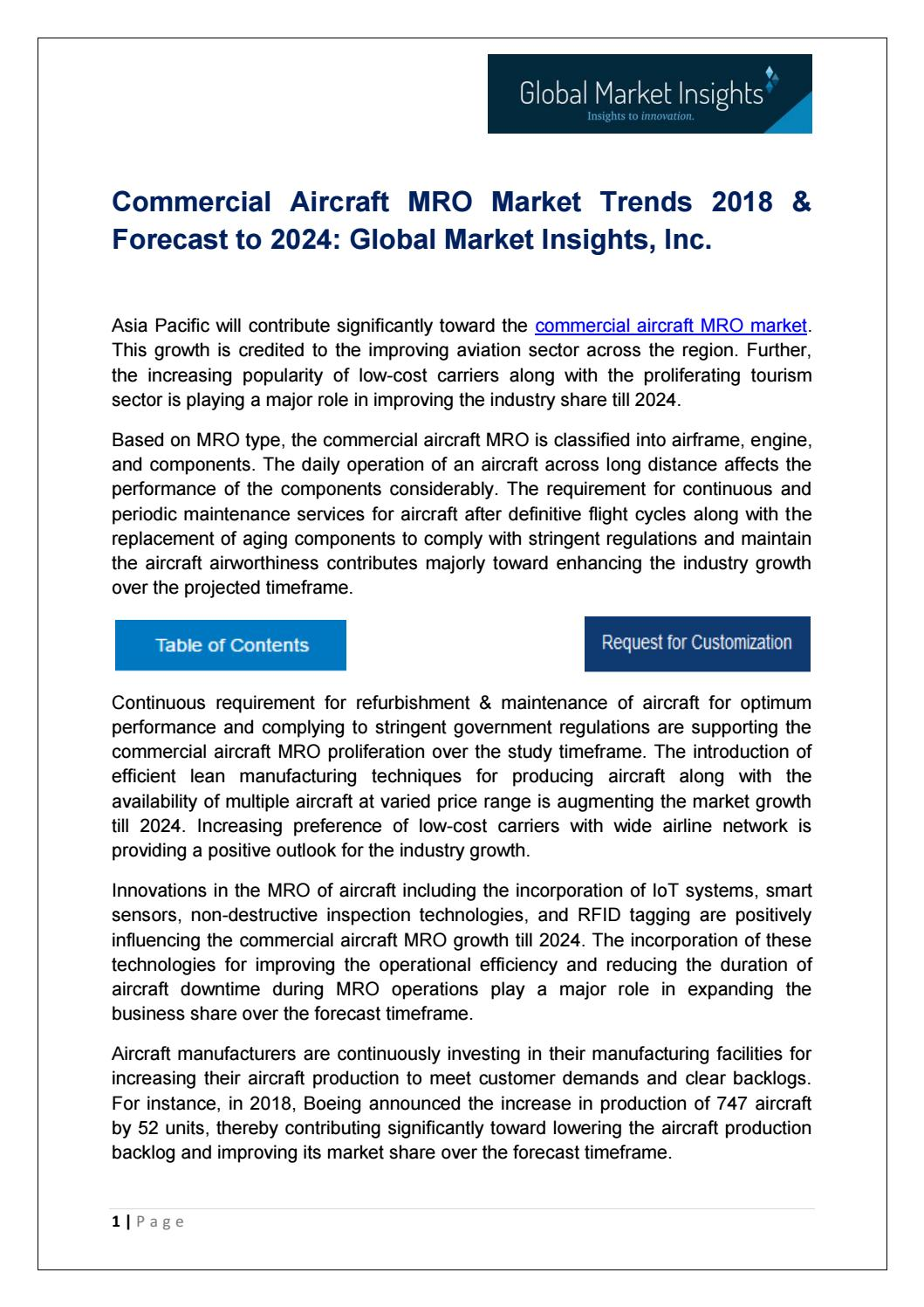 Commercial Aircraft MRO Market Analysis, Trends and Forecast