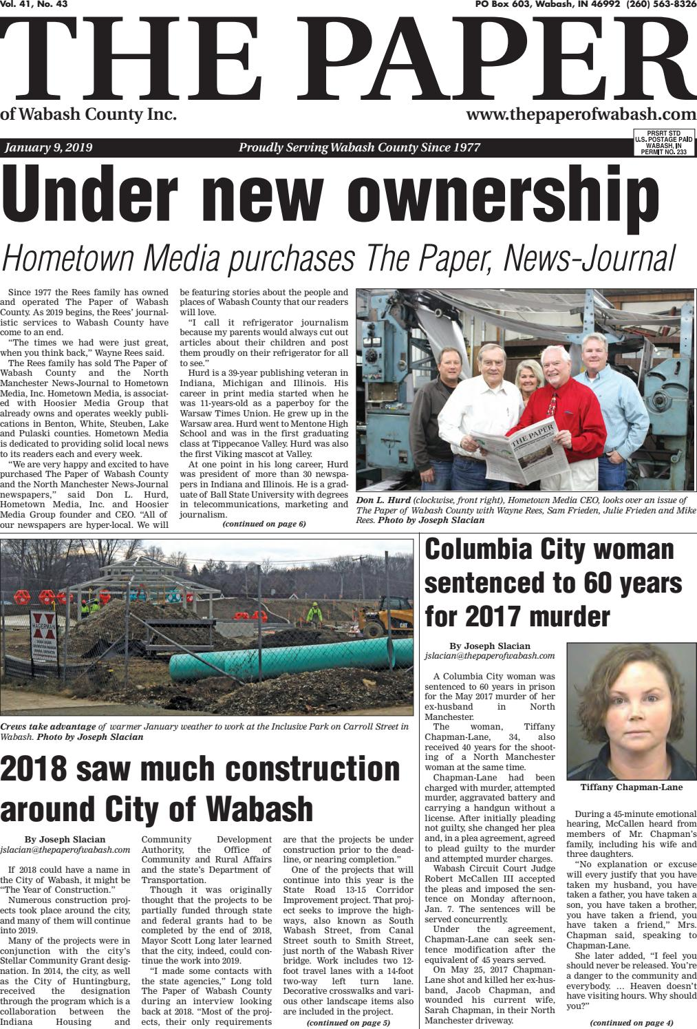The Paper of Wabash County - Jan  9, 2019 Issue by The Paper