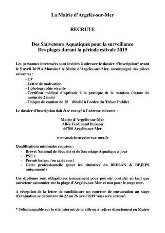 Annonce Recrutement Sauveteurs By Argelès Sur Mer Issuu